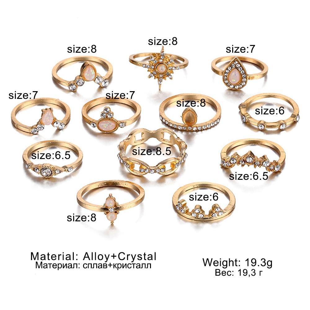 Женский винтажный набор колец с опалом и кристаллами средней длины, 9 дизайнерских золотых звездочек, 2019 4
