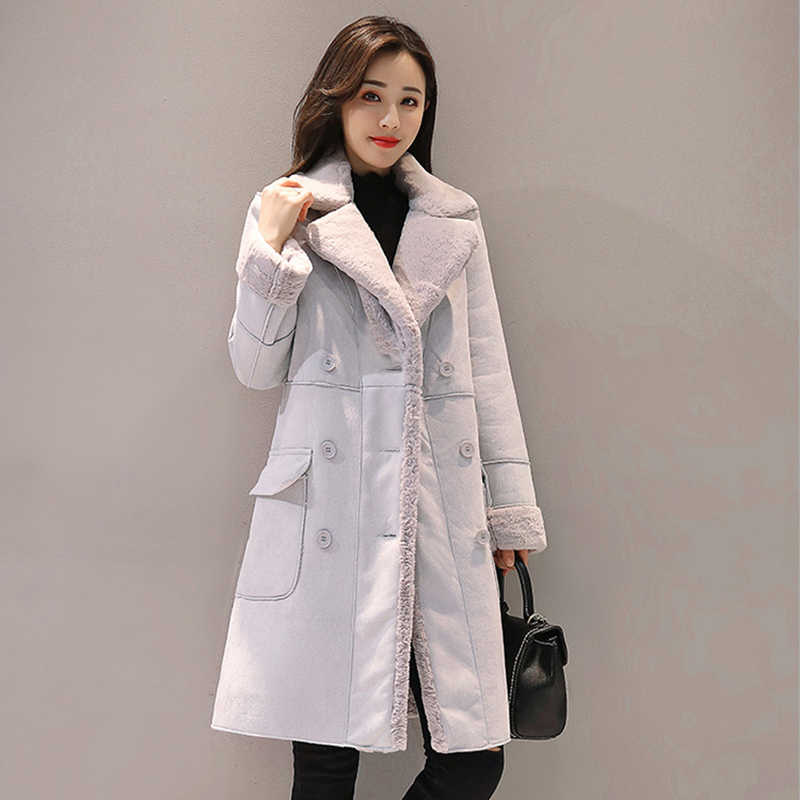 Winter jacket ladies suede fashion thick-soled artificial sheepskin long coat coat women solid color warm windbreaker