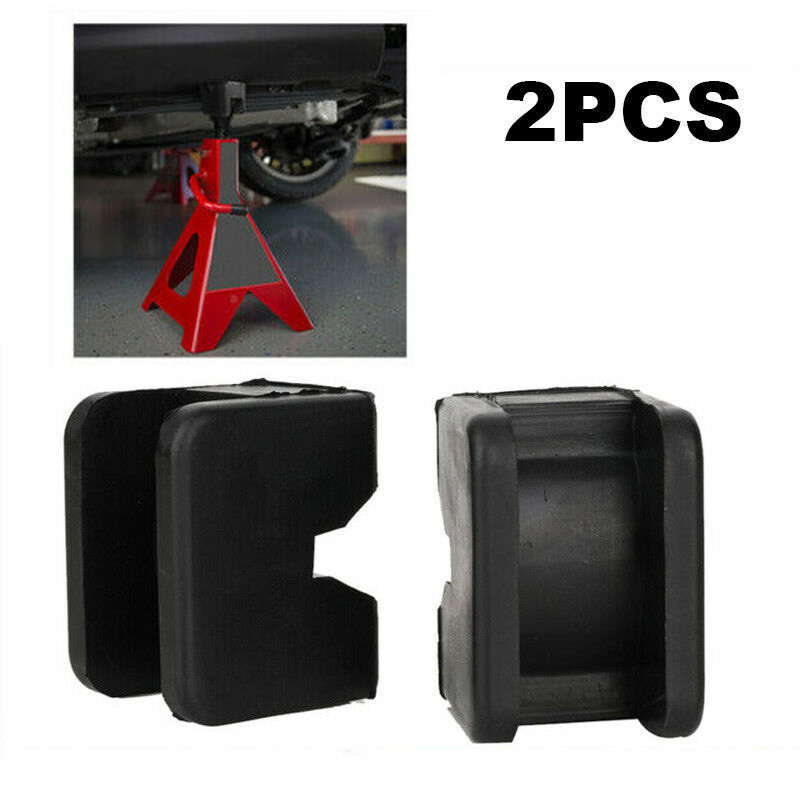 2PCS Universal Stand Repairing Guard Adapter Vehicle Protective Rail Floor Slotted Frame Rubber Car Lifting Black Jacking Pad