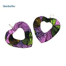Женские серьги подвески в африканском стиле с принтом виде сердца
