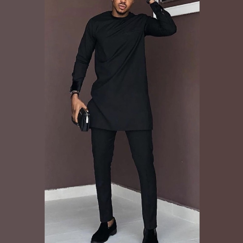 Man Shirts Matching Pants African Fashion Solid Black Tops+Trousers Custom Made Men's Outfits African Pant Set Party Clothes