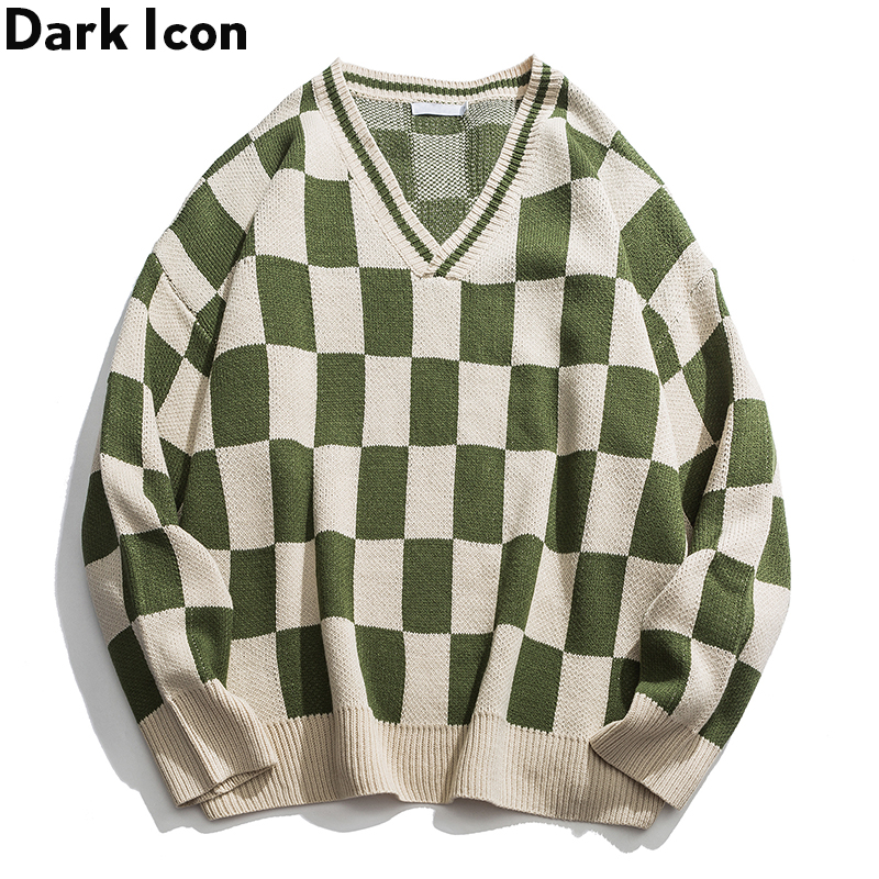 Sweater Men Pullover Oversized Clothing V-Neck Streetwear Square Hip-Hop Loose Dark-Icon