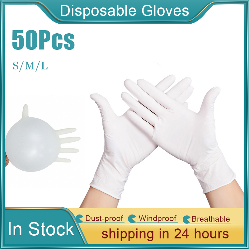 50/100pcs Transparent Latex Disposable PVC Gloves Dishwashing Kitchen Rubber Garden Non-Slip Gloves For Home Cleaning