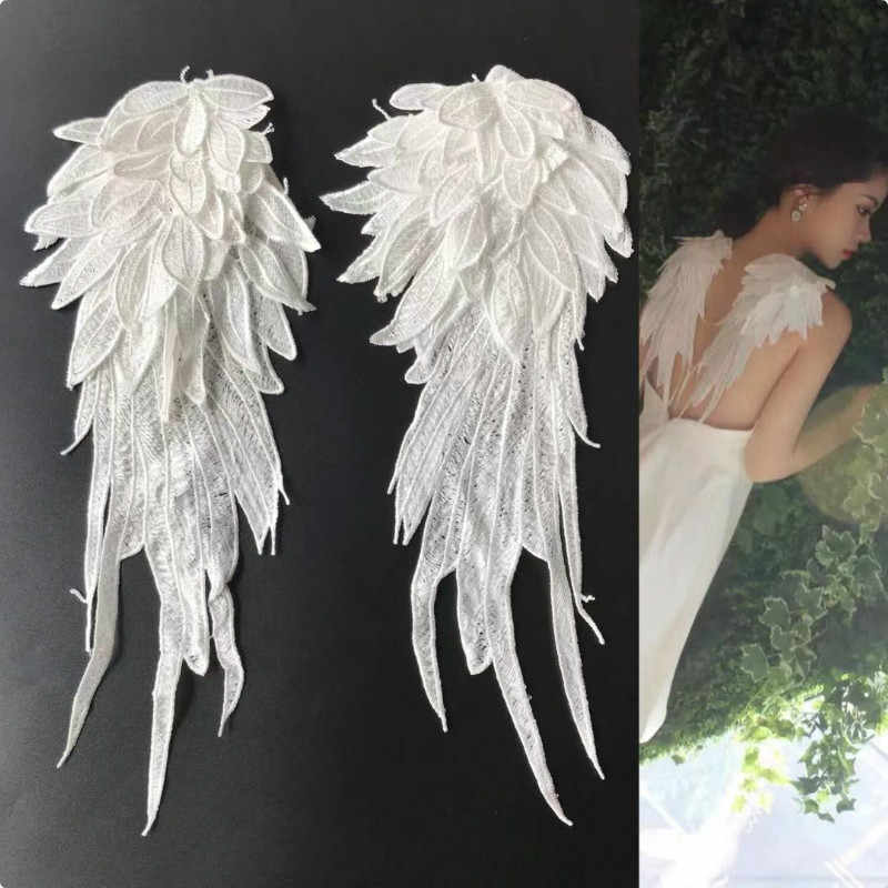Lace Crafts 1Pair Embroidered Angel Wings Lace Fabric Shoulder Venise Embroidery Sewing Applique DIY Handmade Costume Decoration Color: Black