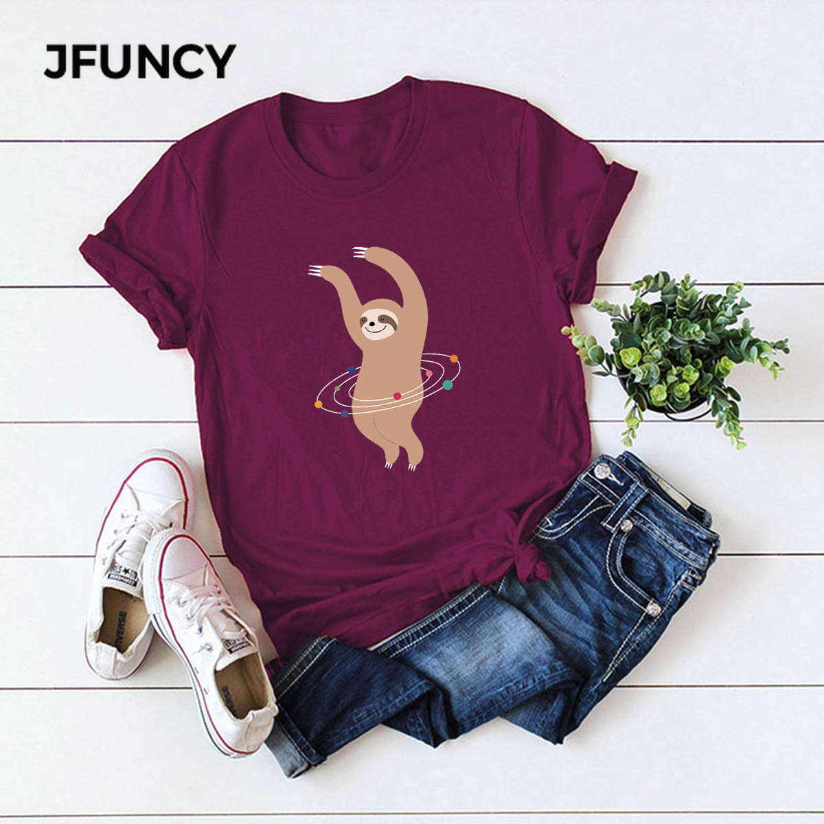 JFUNCY Plus Size S-5XL Summer Cotton T Shirt Women Casual Tops Tees Lovely Dancing Sloth Cartoon Print Shirts Pink Women TShirt