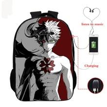 Backpacks 16 inch Anime black clover boys girls school bags for teenagers Unisex backpack travel bag USB backpack цены