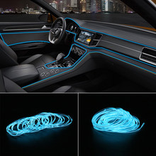 5m coche 12V LED frío coche con luces Luz de estilismo tiras decoración Interior lámpara de neón Flexible del alambre
