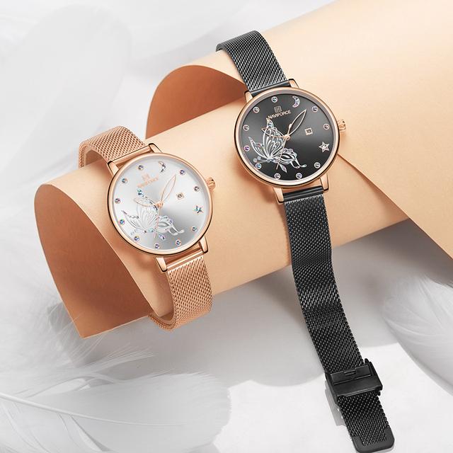 NAVIFORCE Luxury Crystal Women Watch with Box Top Brand Steel Mesh Ladies Wrist Watches Bracelet Girl Clock Set for Sale