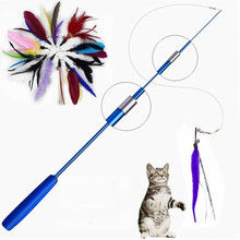 Interactive Cat Feather Toy Feather Teaser Stick Wand Pet Retractable Feather Bell Refill Replacement Catcher Product for Kitten