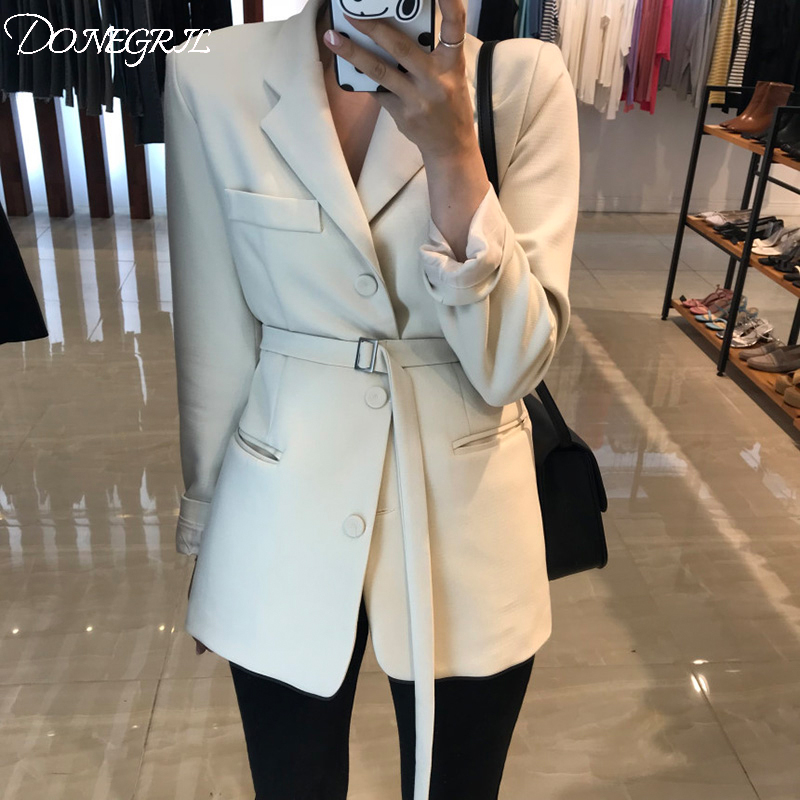 2019 Spring Slim Suit Chic Waist OL Long Black Suit Jacket Female White Blazer Ukraine Blazers For Women Formal