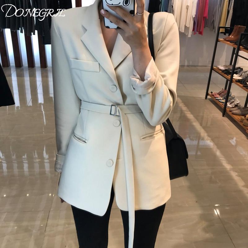 2019 Spring Slim Suit Chic Waist OL Long Black Suit Jacket Female White Blazer Ukraine Blazers For Women Formal