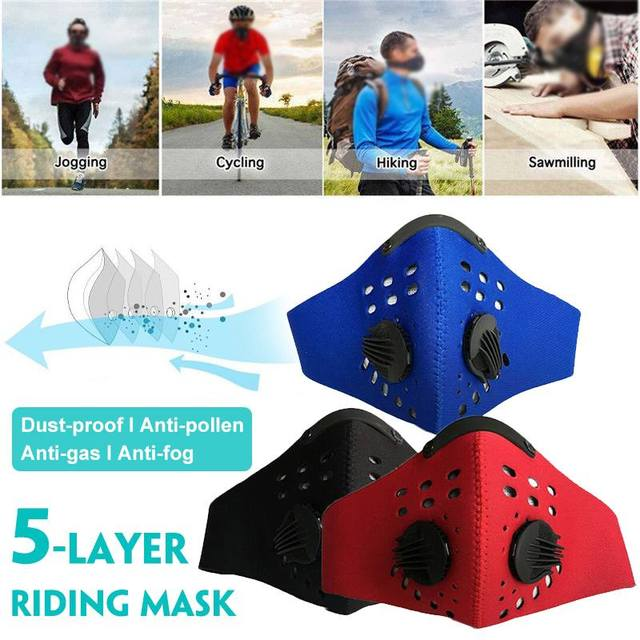 Mouth Masks With 5-Layer Air Filter Anti Pollution Dust PM2.5 Mask Bike Cycling Mouth-muffle Bacteria Proof Flu Face Masks