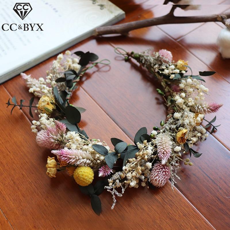Винтажная Цветочная Корона из Тиара для волос CC, 100% ручная работа, свадебные аксессуары для волос для невест, приморских девушек mq060