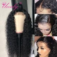 Ueenly cabelo humano frontal cabelo encaracolado, 13x 4/13x6 perucas frontal, renda, cabelo encaracolado brasileiro 360 peruca frontal pré-selecionado com cabelo do bebê