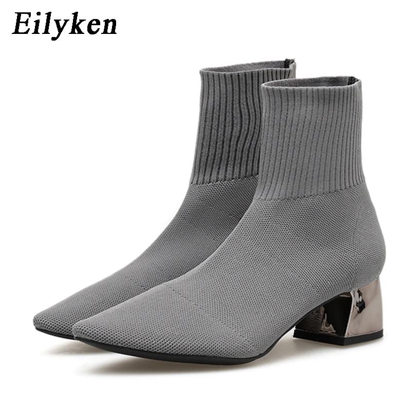 Женские вязаные носки EilyKen, серые Стрейчевые полусапожки на низком каблуке с острым носком, Осень зима 2020|Полусапожки|   | АлиЭкспресс - Женская обувь