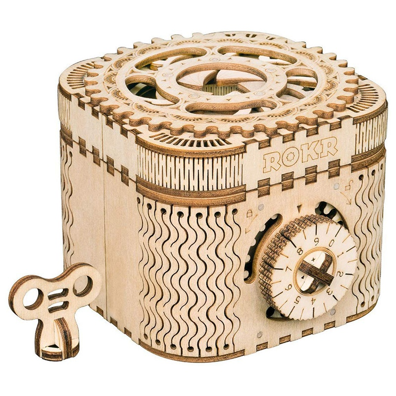 DIY 3D Wooden Puzzle Storage Box Password Treasure Box Assembly Model Building Kit Toys for Children