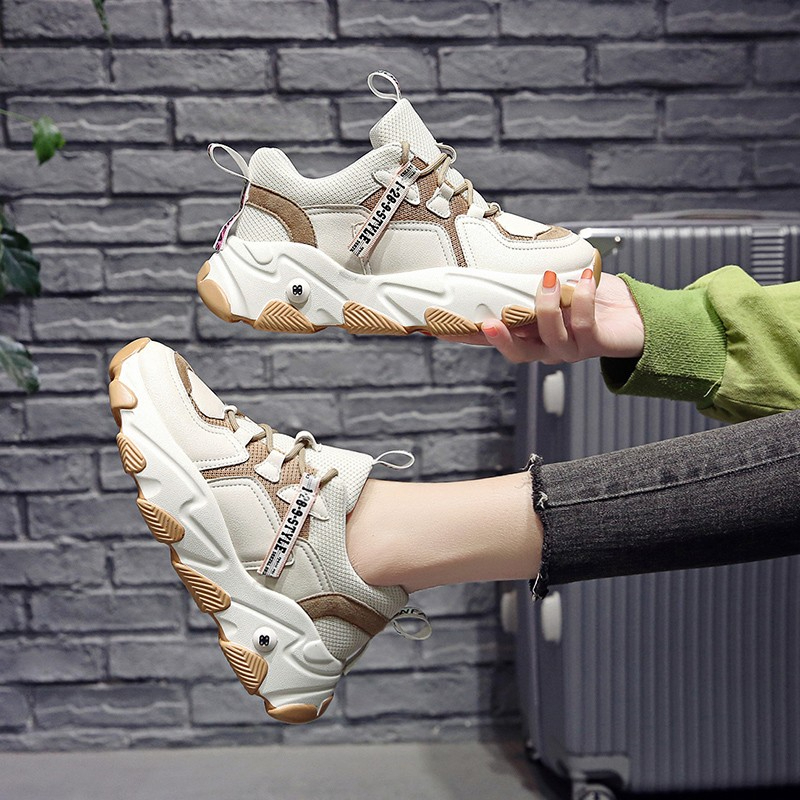 2020 Fashion Platform Chunky Sneakers Women Mesh Breathable Vulcanized Shoes Ladies Lace Up Casual Shoes Woman Old Dad Shoes