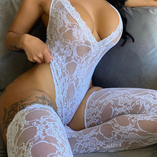 HALTER Jumpsuit Socks See-Through V-Neck Skinny Sexy Lace Backless Deep Female New-Style