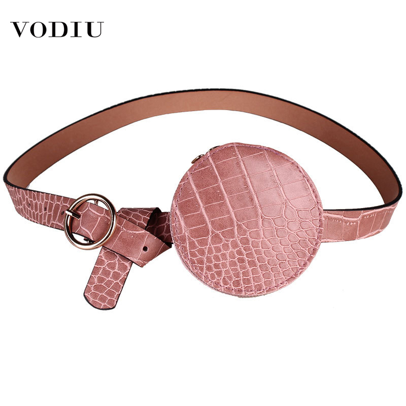 Waist Bag Women Fanny Packs Cross-border Pockets Female Mini Compact Fashion Cute Round Crocodile Pattern Women's Waist Belt Bag