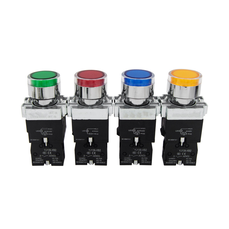 22mm Momentary XB2-BW3361 Round Push Button Switch With LED Light 1NO 24V/AC220V/AC380V Green,Red,Yellow,Blue ZB2-BE101C