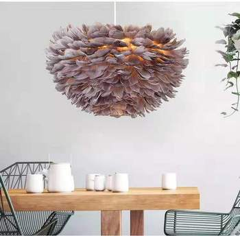 hot-selling pendant feather lamps grey goose feathers feather lights nordic style decoration lights for living room, bedroom