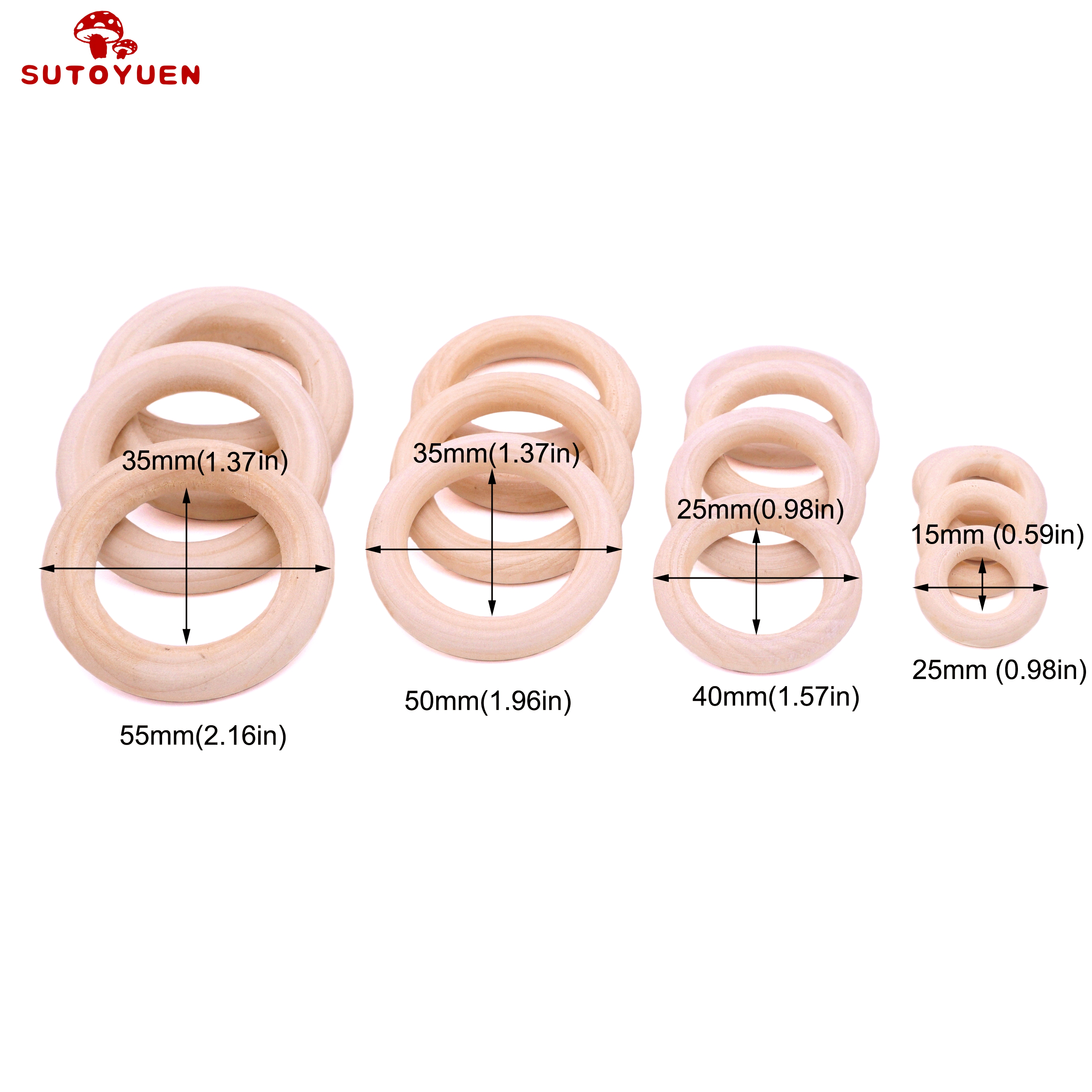 Image 5 - Sutoyuen Baby Teether 100pcs Wooden Round Wood Ring 40 70mm DIY Bracelet Crafts Gift Wood Teether Natural Teething AccessoryBaby Teethers   -