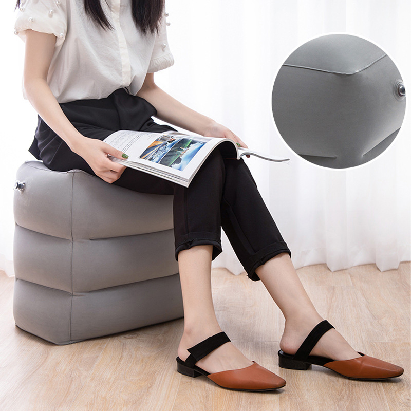 Portabl Inflatable Travel Foot Rest Pillow Feet Cushion Adjustable Height Footrest Relax For Airplane Office Home Accessories
