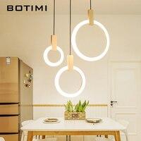 BOTIMI Rings 220V Pendant Lights For Dining Room Art Deco Wooden LED Staircase Hanging Light Restaurant Hotel Lighting Fixtures
