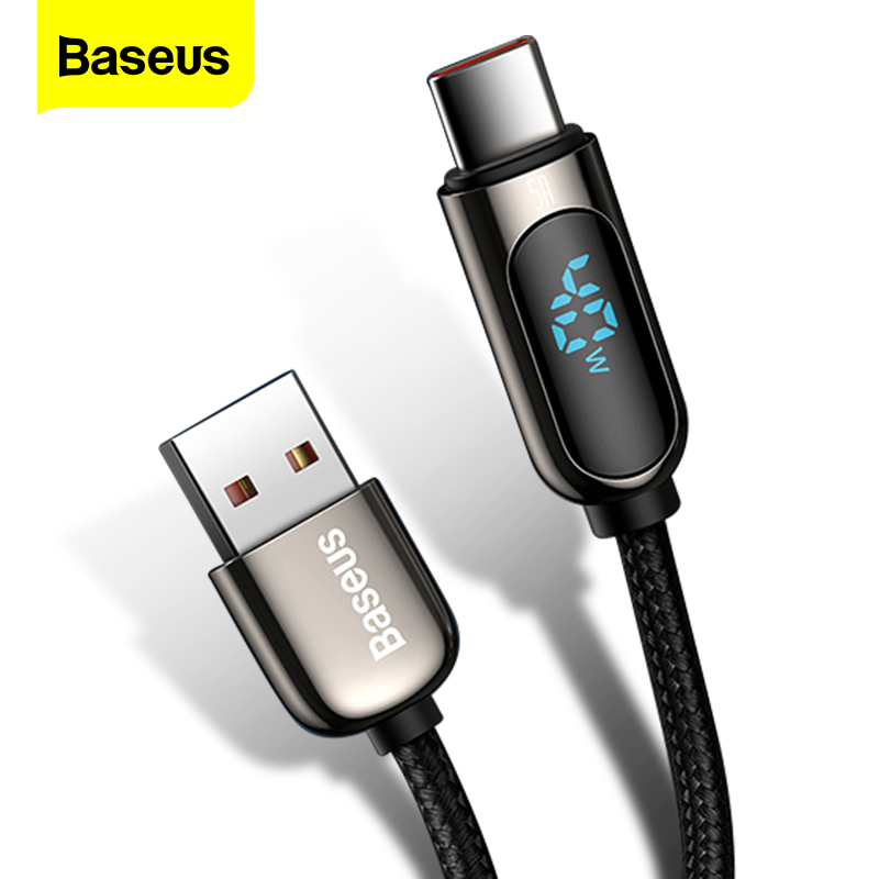 Baseus LED Display USB typ C kabel do Xiaomi Huawei Samsung 5A szybka ładowarka USBC USB-C data kabel type-c przewód