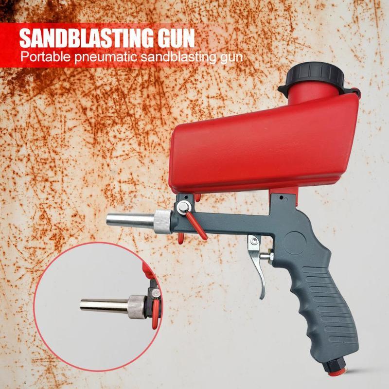 Portable 90psi Handheld Spray Gun Gravity Pneumatic Sandblaster Gun Lightweight Aluminium Household DIY Blasting Device