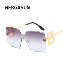 WERGASUN-gafas de sol con gradiente para hombre y mujer, nuevas grandes, de marca de lujo, a la moda, sin montura, cuadradas, de Metal, 2020