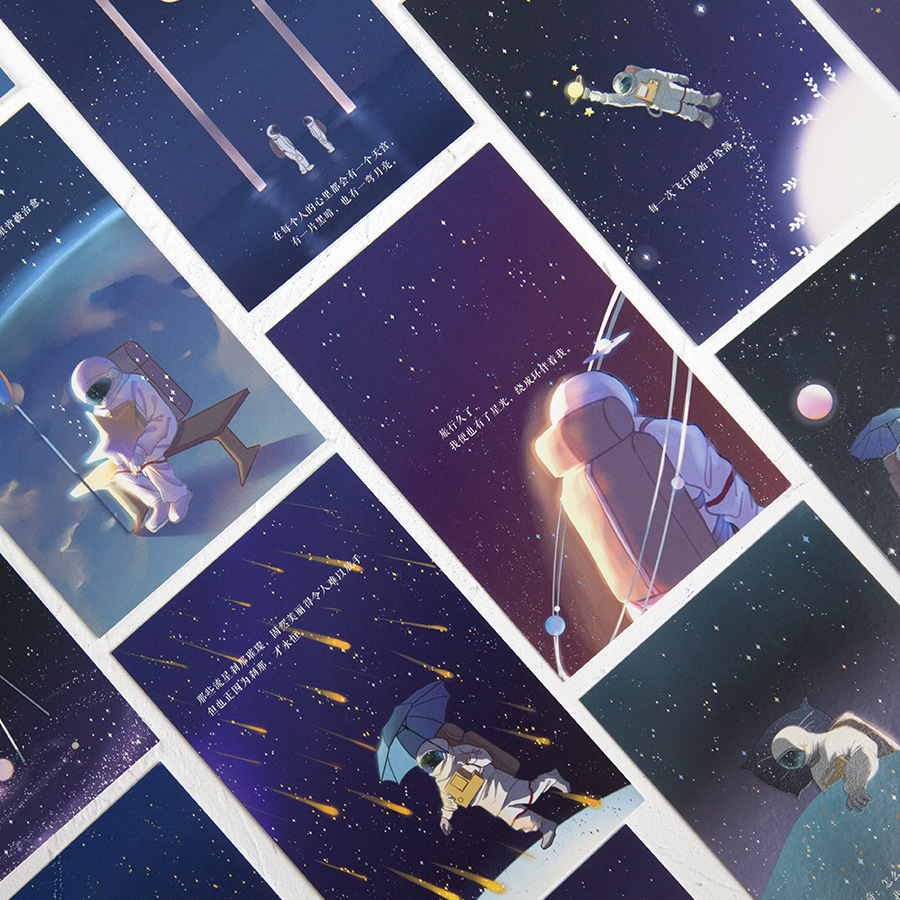 30 Sheets/Set Starry Sky Luminous Postcard Astronaut Dream Greeting Card Birthday Letter Gift Card