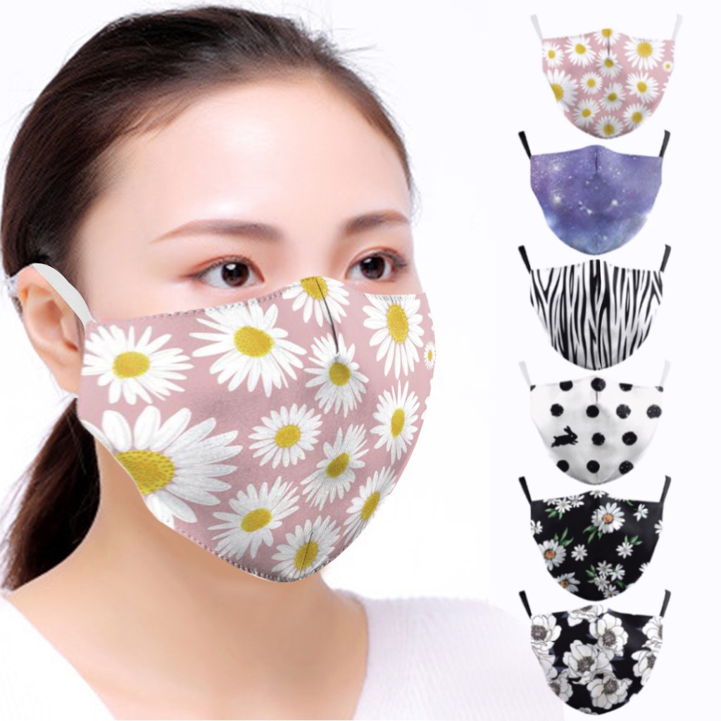 Unisex Floral Dot Face Mask For Women Men Mouth Mask PM2.5 Washable Reusable Seamless Face Mask Fashion Motorcycle Face Masks