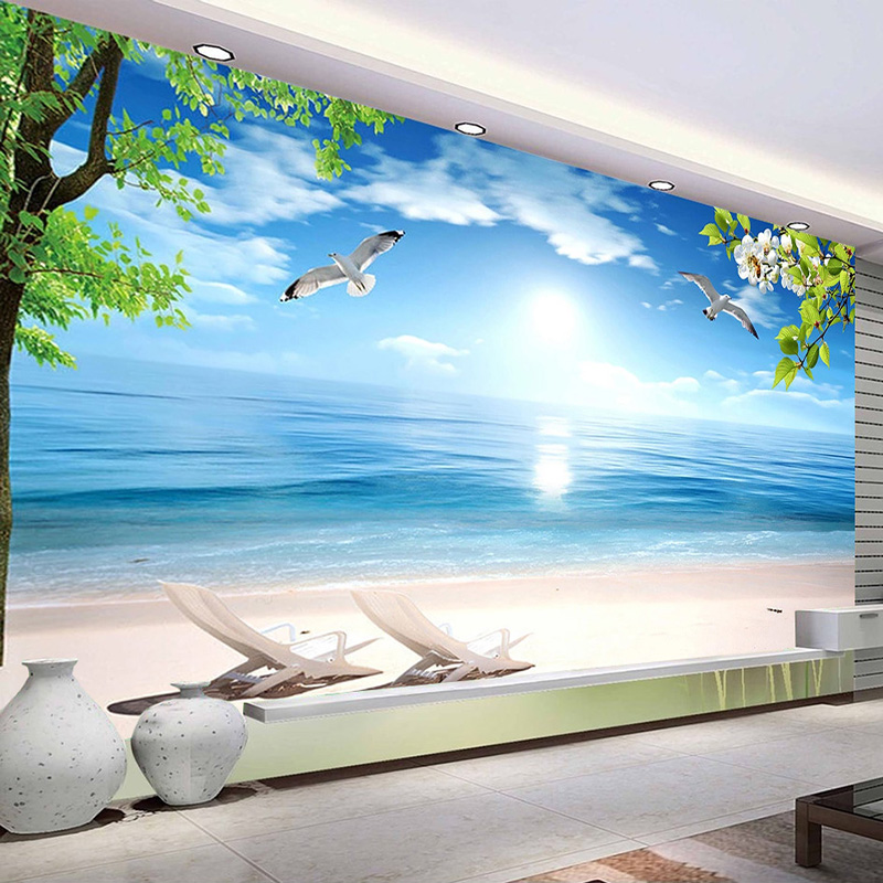 Custom 3D Photo Wallpaper Blue Beach Nature Landscape Large Mural Restaurant Living Room Waterproof Canvas Wallpaper Painting
