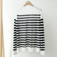 Women Sweater Striped Alphabet Hot Diamond Linen Sweater Women Thin Loose Round Neck Long Sleeve(China)