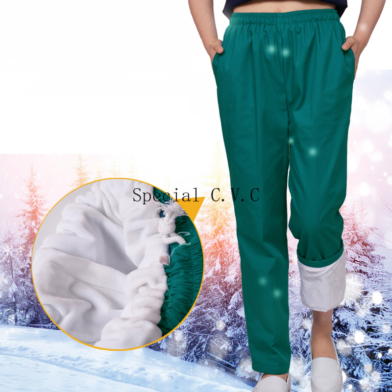 Winter Warm Fleece Scrub Pants Elastic Waistline With A Drawstring Medical Uniforms Scrub Bottoms US SIZE For Women Men