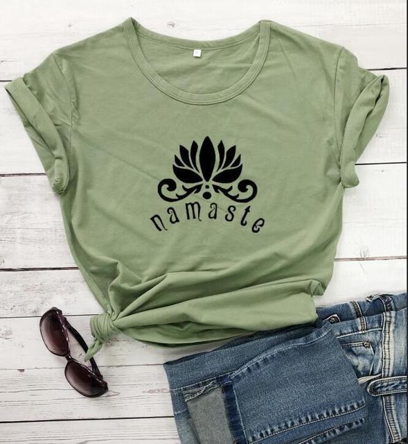 100% Cotton Women T Shirt Namaste Lotus Printed Tshirt Ladies Short Sleeve Tee Shirt Women Female Tops Clothes Camisetas Mujer 3