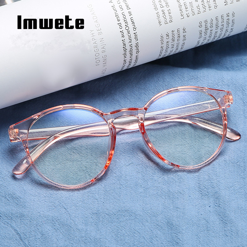 Imwete Classic Transparent Round Glasses Frame Women Clear Lens Myopia Glasses Men Vintage Eyeglasses Optical Spectacle Frames