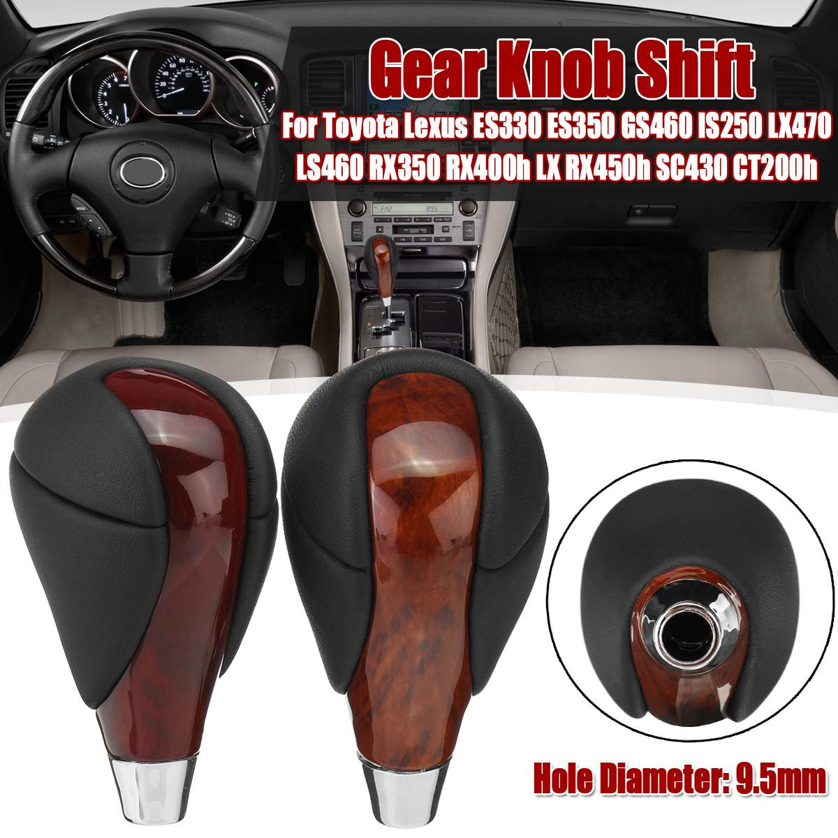 Real Leather Gear Knob Shift For Toyota for <font><b>Lexus</b></font> ES330 ES350 GS460 IS250 LX470 LS460 RX350 RX400h LX <font><b>RX450h</b></font> SC430 CT200h image