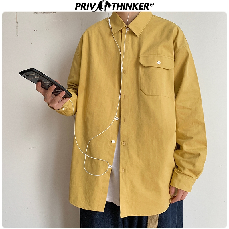 Privathinker Korean Style Men's Cotton Shirts 2020 New Spring 8 Colors Man Casual Blouse Solid Color Long Sleeve Shirts 5XL