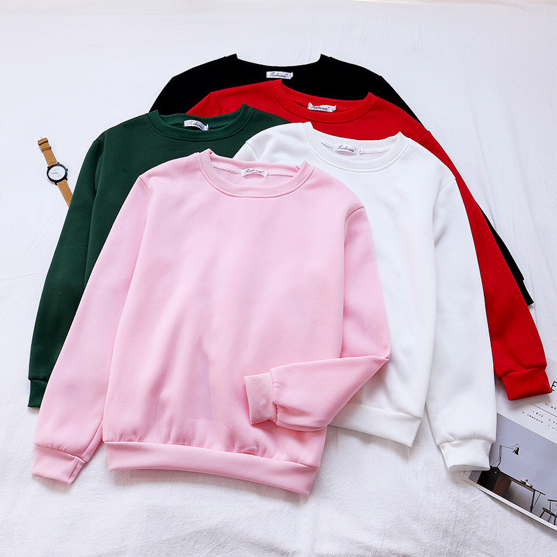 Plus Velvet Women Hoodies Sweatshirt Female Pullover Autumn And Winter Clothes O-NECK Loose Padded Hoodie
