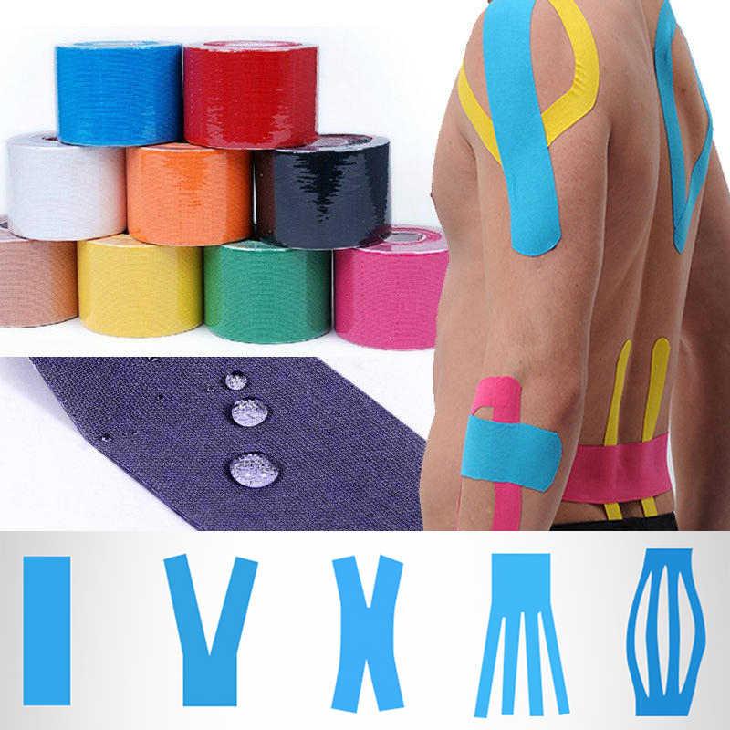 Cinta de kinesiología vendaje muscular 15 colores deportes Algodón elástico tensión adhesiva lesión alta velocidad cinta de alivio del dolor muscular de rodilla
