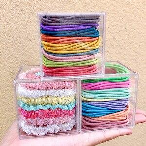 Женские резинки для волос, цветные базовые резинки для фиксации хвостиков в коробке, модные аксессуары для волос