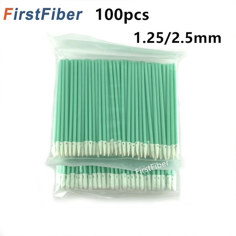 Fiber Optic Cleaning Sticks Fiber Optic Swabs For 1.25mm/2.5mm LC/SC/FC/ST Connectors/ Adaptors, 100PCS Fiber Cleaning Rod