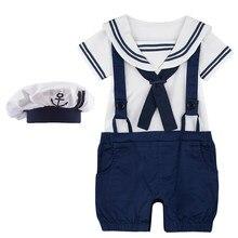 Bebê menino marinheiro macacão infantil traje de halloween recém-nascido náutico marinheiro marinha macacão mariner roupas com chapéu