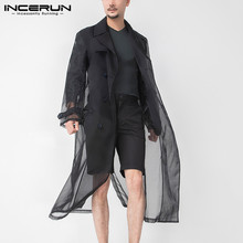 Outerwear Streetwear-Coats Long-Jackets Mesh-Trench Fashion INCERUN Thin Double-Breasted