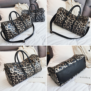 Image 3 - Outdoor PU Leather Sports Gym Bag Women Men Training Fitness Crossbody Shoulder Bag Leopard Print Travel Yoga Handbag