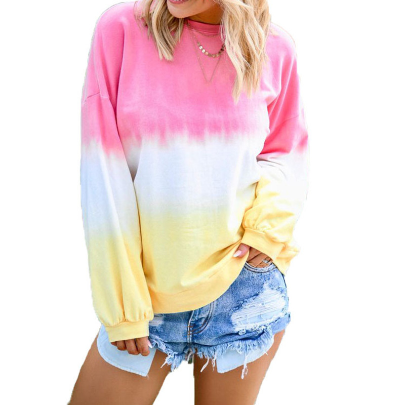 Plus Size Women Casual Ladies Rainbow Gradient Autumn Sweatshirt Patchwork Female Casual O Neck Long Sleeve Loose Pullovers