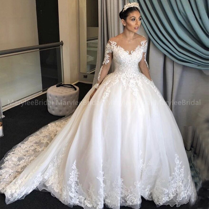 Princess Ball Gown Casamento Scoop Neck Wedding Dress Long Sleeve Vestido De Noiva Vintage Appliques Chapel Train Robe De Mariée