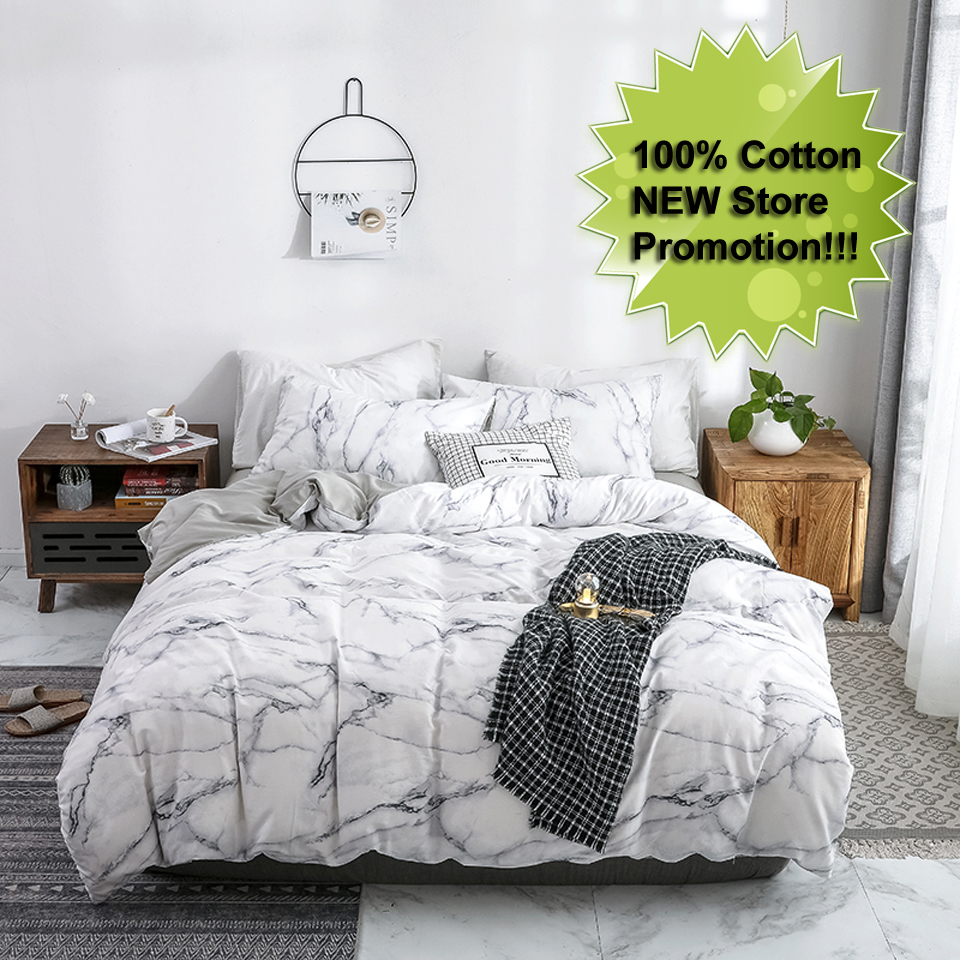 white marble bedding set cotton luxury simple comforter bed linen duvet cover 200 200 twin queen single king size nordic family